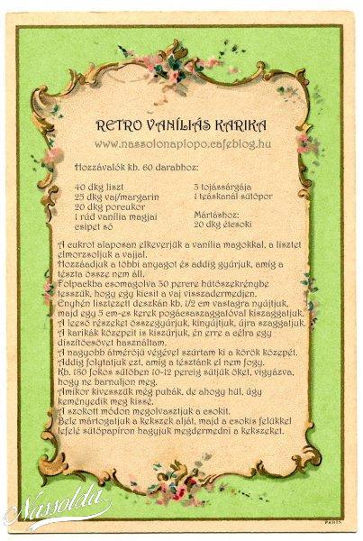 Vaníliás karika receptkártya